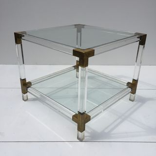 Lucite and Brass Table