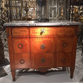 Inlaid Marble Top Commode