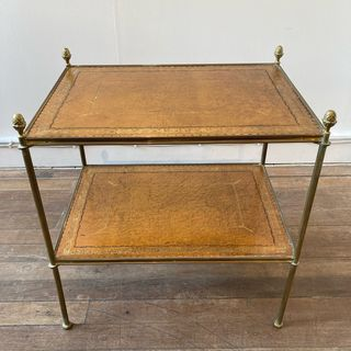 Leather & Brass End Table