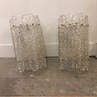 Pair of Glass Wall Lights
