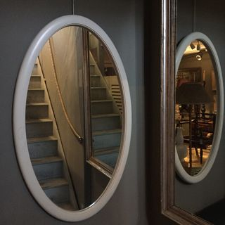 Taller White Oval Mirror