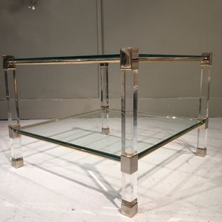 Lucite Chrome & Glass End Tables