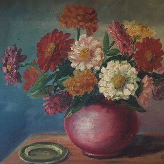 Zinnias in Vase Painting